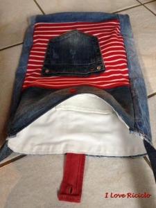 borsa jeans con maglia rigata interno